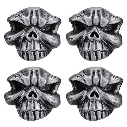 Abaodam 1 juego de neumáticos de cabeza de cráneo para motocicleta, boca inflable, cabeza fantasma, boca de resina, accesorios para moto (plata)
