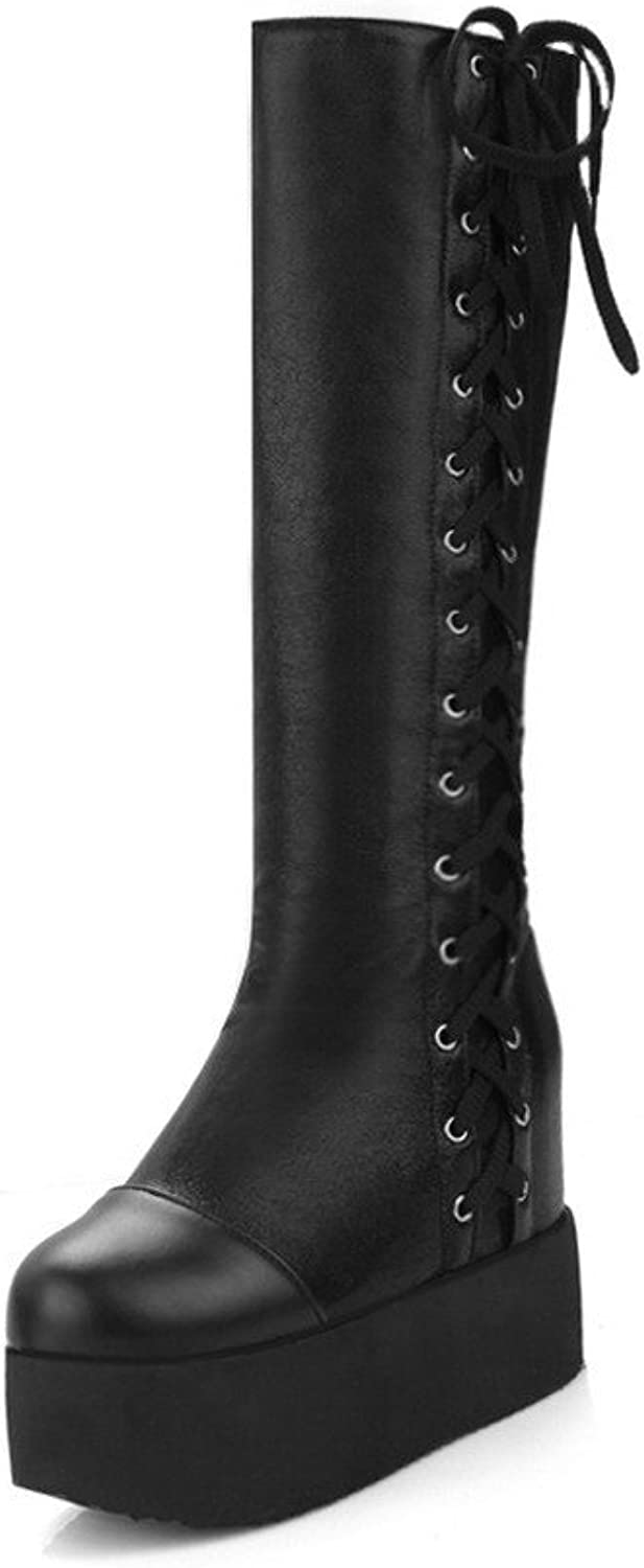 WeenFashion Women's Blend Materials Mid Top Solid Lace up High Heels Boots
