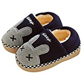 SITAILE Cute Home Shoes, Girls Boys Fur Lined Indoor House Slipper Bunny Warm Winter Home Slippers Cover Heel Blue Size 13-1 Little Kid