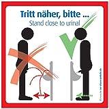 immi 4x Tritt näher, bitte, Pissoir Aufkleber, Urinal Schild, 9,8 cm