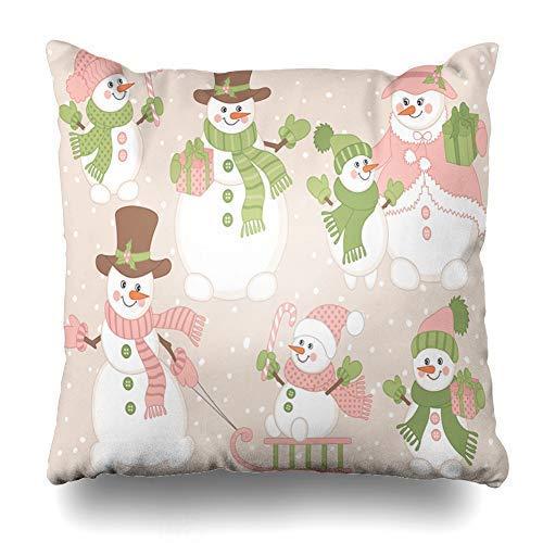 N\A Netter rosa Pastellkarikatur-Schneemann mit Zuckerstangen-Schlitten-Schneemann-Kissenbezug-Kissenbezug-Kissenbezug-Kissenbezug für Schlafzimmer-Wohnzimmer