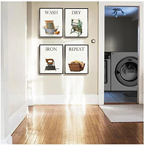BINGJIACAI Lavandería vintage Arte de la pared Imágenes modulares Impresión de lienzo Pintura Póster Lavado en seco Plegado Repetir signo de lavandería Decoración para el hogar-30x40cmx4 Sin marco