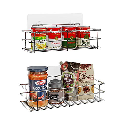 HOSUN Hanging Spice Racks for Wall, Adhesive Spice Organizer, Spice Shelf, Seasoning Organizer for Kitchen, No Drilling Stainless Steel Wall Rack (2 Pack)