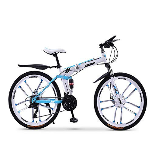 Pliuyb Folding Mountain Bike Bicycle 20 24 26 inch Male and Female Students Variable Speed Double Shock Absorption Adult (Color : 30speed-24inch)