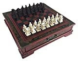 Juego de Tablero Ajedrez de Madera China Retro Terracotta Guerreros Ajedrez Madera Hacer Talla Vieja Resina Chessman (Size : 26x26x6.5cm)