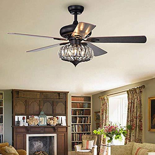 Ventilador de techo con iluminación de 52 pulgadas, retro, lámpara del ventilador de 5 aspas con mando a distancia, LED Fan de techo, Light Industrial Vintage para salón, comedor y dormitorio