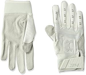 Under Armour Boys' Harper Hustle Baseball Batting Gloves,White (100)/Aluminum,Youth Medium