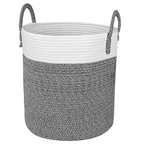 Homfa Wäschekorb faltbarer Wäschesammler Natur Baumwolle Seil Aufbewahrungskorb Wäschesack für Wohnzimmer Badezimmer Schlafzimmer 33 x 38 x 33cm