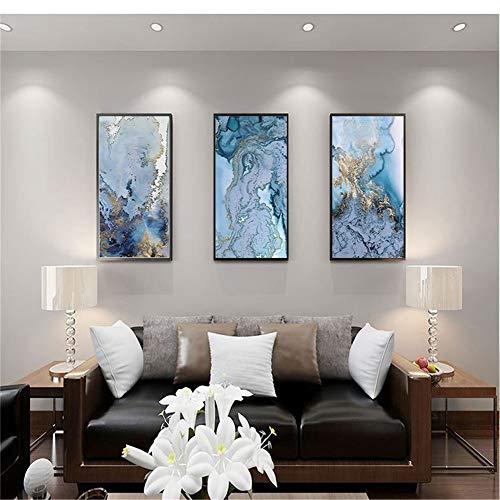WSNDG Woonkamer slaapkamer nachtkastje Noord-gouden abstracte herten, waterbrug, veren, enz. Achtergrond muurschildering drievoudig decoratief schilderij zonder fotolijst 60x80CMx3 H5