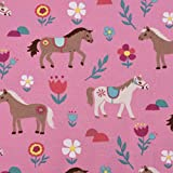 SCHÖNER LEBEN. Baumwolljersey Jersey Pferde Blumen rosa