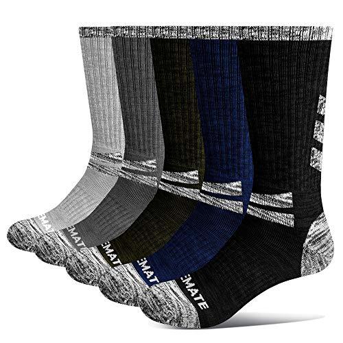 Closemate 5 Pairs Men s Cushion Crew Calf Socks Moisture Wicking Outdoor Multi Performance Hiking Trekking Walking Athletic Socks (1DarkBlue1Black1DarkGrey1Green 1LightGrey, 9-12)