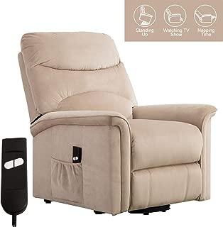Bonzy Home Power Lift Recliner Chair with Reclining Lifting Controller for Elderly, Modern Soft Velvet Upholstery Sofa