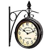 XZRWYB Two Sided Train Station Wall Clock - Vintage Design - Quartz Wall Clock Watch