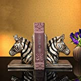 Tbaobei-Baby Fermalibri Vintage 2 Art Bookends Zebra Capo Bookends for Home Office scaffale e Biblioteca Decoration (Color : Zebra, Size : 14x11x16cm)