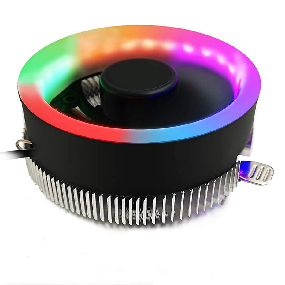 Ourleeme CPU Cooling Fan, FORNORM Cooler Fan Heatsink LED Blue Aperture CPU Cooling Fan Quiet Radiator for Intel 775/1156 for AMD AM2 AM2+ AM3 AM3+