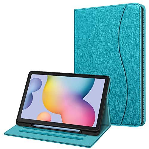 FINTIE Funda para Samsung Galaxy Tab S6 Lite de 10.4' con Portalápiz - [Multiángulo] Trasera de TPU Suave con Bolsillo Auto-Reposo/Activación para Modelo SM-P610/P615, Cian