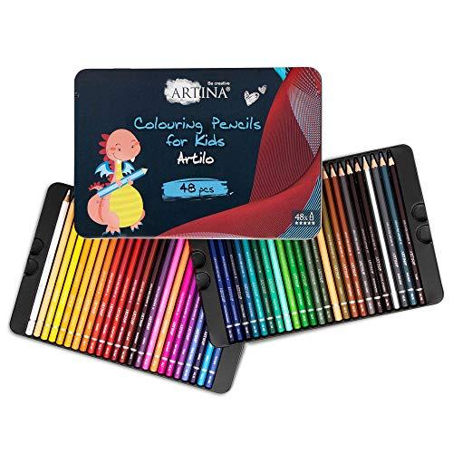 Artina Artilo Set di 48 Matite Colorate per Bambini - Matite in Legno Certificato FSC® per colorare - Set di matite colorate infrangibili, altamente pigmentate - matite da bambini per disegnare