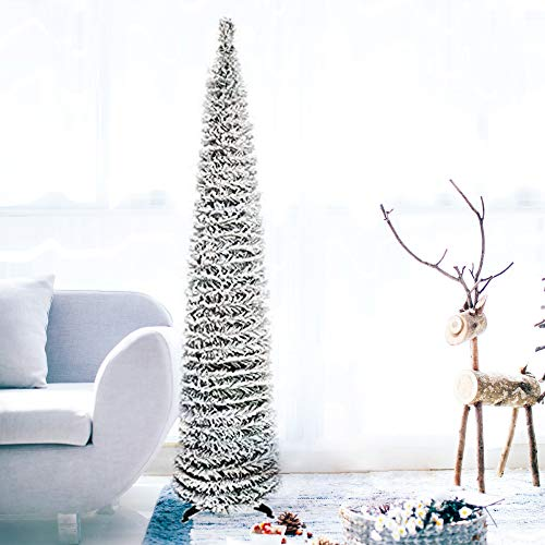DOYOLLA Snow Flocked Pencil Christmas Tree 5ft, Small Pop up Collapsible Snowy White Xmas Pine Tree for Home Holiday Christmas Door Decorations