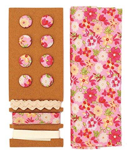 Lili Rose Textile Kit Rose de rose de fleurs 48 x 48 cm Bandes 3 x 1 m 8 boutons