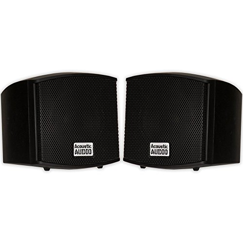 Acoustic Audio AA321B Mountable Indoor Speakers 400 Watts Black Bookshelf Pair (Renewed)
