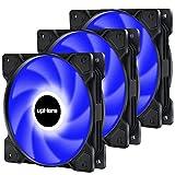 upHere 3-Pin 120mm Azul LED Colorido-Rainbow LED Ventilador para Caja de Ordenador, Silencioso -Paquete de 3(SR12-BE3-3)