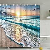 J-MOOSE Duschvorhang Sonnenaufgang auf See muster Schimmelresistenter & Wasserabweisend Shower Curtain mit 12 Duschvorhangringen