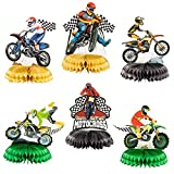 OSNIE 6Pcs Dirt Bike Honeycomb Centerpieces Table Topper, Checkered Racing Motocross Theme Birthday Party Supplies Table Decorations Motorcycle Party Favors Photo Booth Props for Kid's Boys Birthday