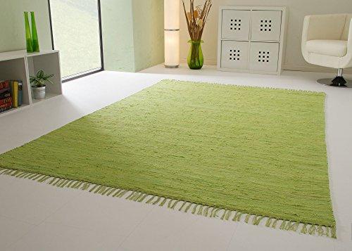 Handwebteppich Indira in Grün - Handweb Teppich aus 100% Baumwolle Fleckerl, Größe: 160x230 cm