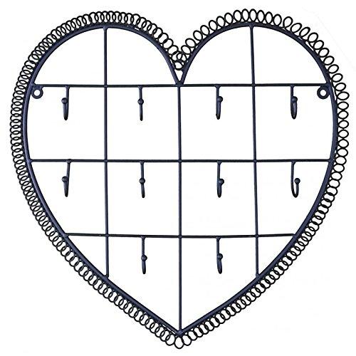 L'Héritier Du Temps wandlamp, motief hart gepatineerd, zwart, 10 haken, ijzer, 3 x 34 x 35 cm
