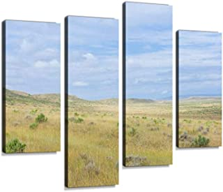 Open Prarie, Grassland and Sagebrush Near Vermillion, Nebraska, USA. Canvas Wall Art Hanging Paintings Modern Artwork Abstract Picture Prints Home Decoration Gift Unique Designed Framed 4 Panel