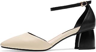 producto de calidad YUBIN Cuero Genuino con Un Solo Zapatos Femenino Europeo Y Y Y Americano Zapatos con Punta Nuevos Zapatos Salvajes con Una Palabra con Sandalias Huecas Hembra (Color   blancoo, Tamao   35)  70% de descuento