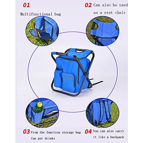 YAOBAO Refroidisseur Se Pliant Et Sac À Dos De Selles, Chaise Pliable avec Le Double Sac De Refroidisseur De Tissu d'Oxford De Couche pour La Pêche,Blue