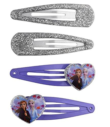 SIX Haarspangen-Set mit Disney Frozen ELSA- und Anna-Motiven, Glitzer-Optik, Herz-Motiv, die Eiskönigin, für Kinder (648-098)