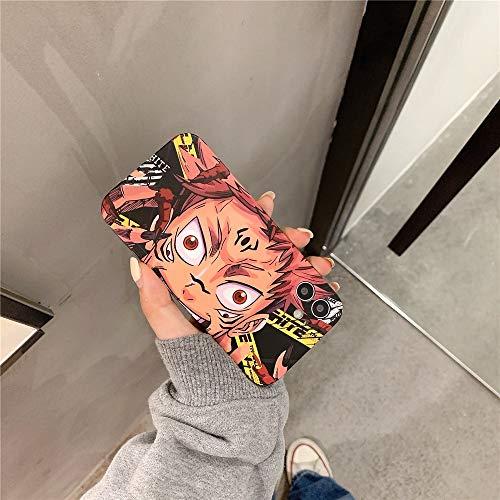 HNZZ Tmrtcgy Hot Anime Jujutsu Kaisen Yuji Itatori Fushiguro Megumi Funda telefónica para iPhone 12 11 Pro X XS MAX XR 7 8 Plus Silicon Soft Cover (Color : 2, Size : Iphone12)