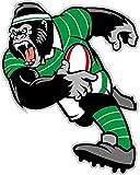 Gorilla Rugby Mascot Sport Cartoon De Haute Qualite Pare-Chocs Automobiles Autocollant 10 x 12 cm