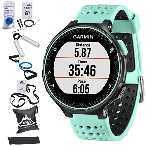 Garmin Forerunner 235 GPS Sport Watch with Wrist-Based Heart Rate Monitor and 7-Piece Fitness Kit (Frost Blue)