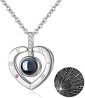 Beyonta Necklace Necklace Projection Pendant 100 Kinds of Love Language is The Most Romantic Gift for Lovers