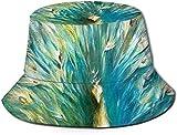 BONRI Hermoso Sombrero de Cubo con Estampado de Pavo Real, Gorra de Pesca de Pescador para Viajes de Mujeres