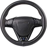 O SHI CAR Black Genuine Leather Steering Wheel Cover Soft Silica Gel Liner 15 Inch for Fusion Altima Etc Most Cars