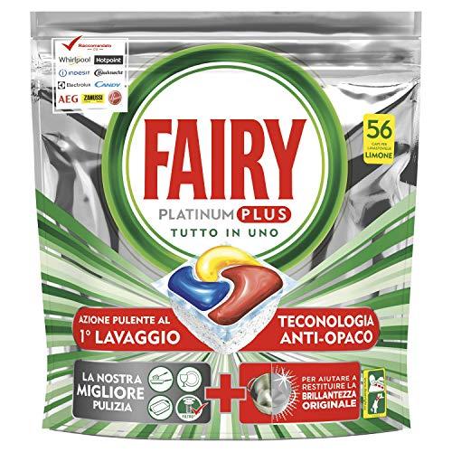 Fairy Platinum Plus 56 Pastiglie Per Lavastoviglie, Detersivo in Confezione Maxi Formato da 56 Caps, Limone