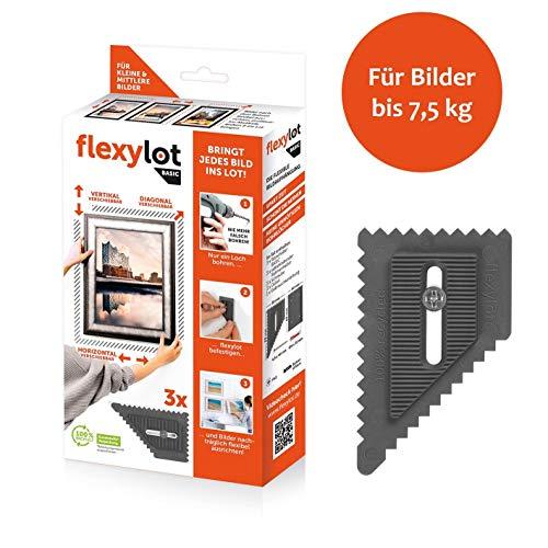 flexylot Bildaufhänger - 3x Basic | Ideal für kleine bis mittlere Bilder bis 7,5 kg | Nachträglich flexibel ausrichtbar | Für nahezu alle handelsüblichen Rahmen & Bilder