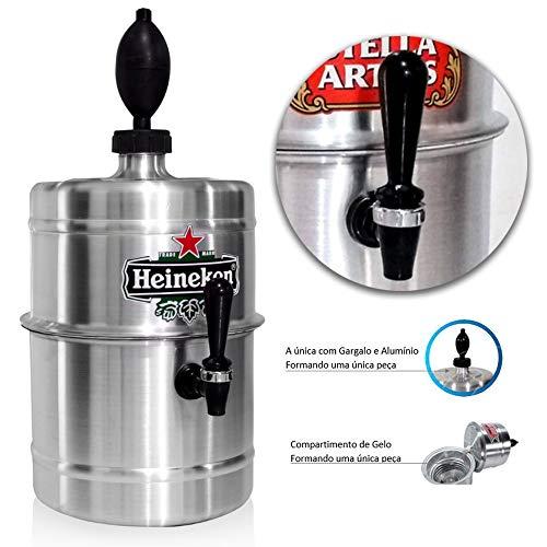 Chopeira Portátil 5,1 L P/Cervejas - Aluminio HEINEKEN - Mantém gelado 4hs - Torneira Especial - cor ALUMÍNIO