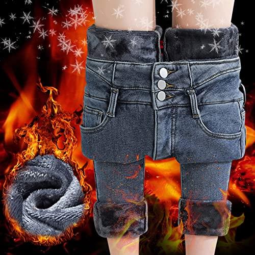 Jeans Leggings Thermo Gefüttert Strumpfhosen Herbst 3D Druck Mehrfarbig Jeans Sporthose Hochtaille Lange Jeggings Dicke Thermische Winterleggings Mit Innenfleece Arbeitshose Fitness Joggen