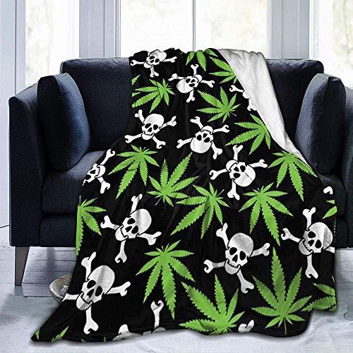 DWgatan Couverture,Couvre-lit de canapé Polyvalent Doux et Chaud de qualité Marijuana Weed Skull Crossbones Printed Blanket for Bedroom Living Room Couch Bed Sofa -50\