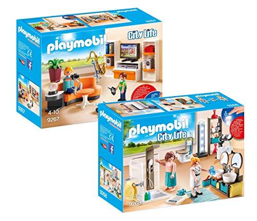 PLAYMOBIL® Modernes Wohnhaus Möbelset: 9267 Wohnzimmer + 9268 Badezimmer