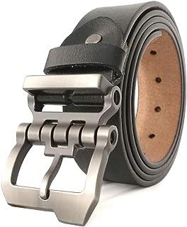 أحزمة ديزاينر رجالي كبيرة وطويلة مصنوعة من الجلد الطبيعي من جينجو هاو لجميع المقاسات 28-64 بوصة أسود بني Aa10