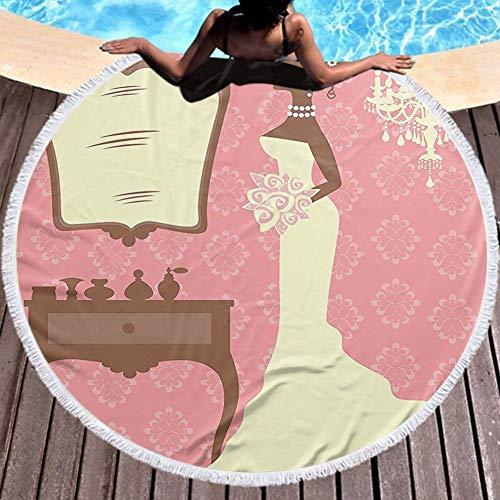W-wishes Strandtuch rundes Brautkleid mit Blumen und Vanity Swirl Hintergrund Coral Brown und White Strandtücher für Erwachsene
