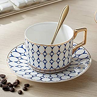 Cup&Saucer Set European Royal Coffee Cup Set British Cup and Saucer First-class Ceramics Western Tea Cup Afternoon Tea Cup with Golden Rose Spoon (Blue B)