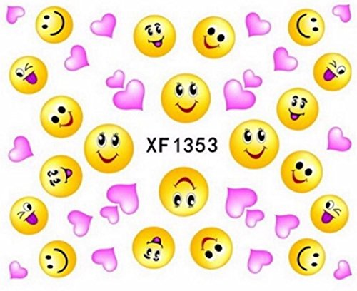 Nail art stickers décalcomanie ongles saint valentin coeurs roses emojis jaunes