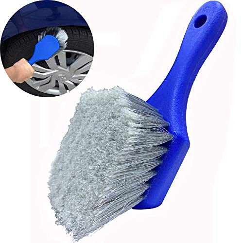 LUCKLYJONE Wheel & Tire Brush for Car Rim, Soft Bristle Car Wash Brush, Cleans Tires & Releases Dirt and Road Grime, Short Handle for Easy Scrubbing Blue